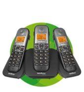Telefone sem fio digital com dois ramais adicionais